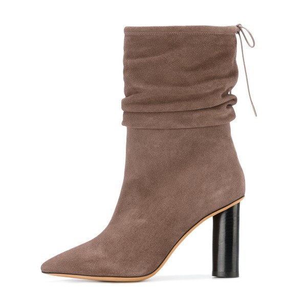 Brown Slouch Boots Pointy Toe Suede Block Heel Mid-calf Boots image 3