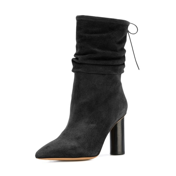 Black Slouch Boots Pointy Toe Suede Chunky Heel Mid-calf Boots image 1