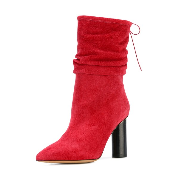 Red Slouch Boots Suede Pointy Toe Block Heel Mid-calf Boots image 1
