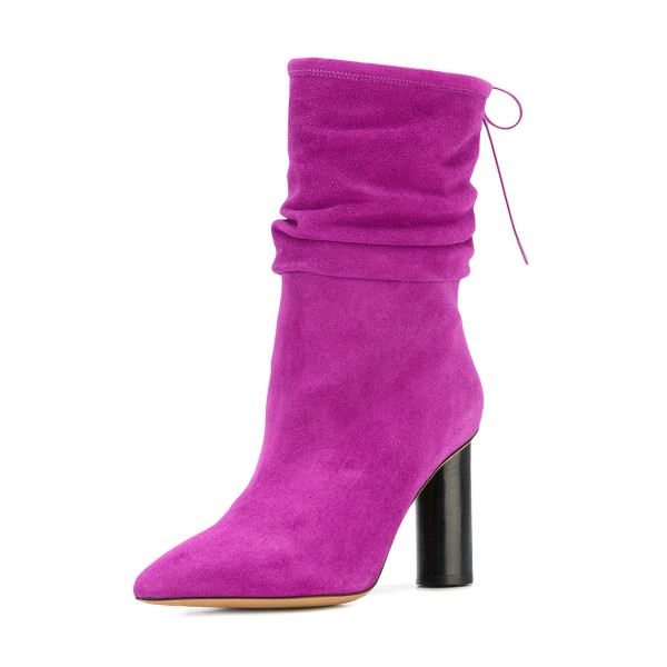 Fuchsia Slouch Boots Suede Pointy Toe Block Heel Mid Calf