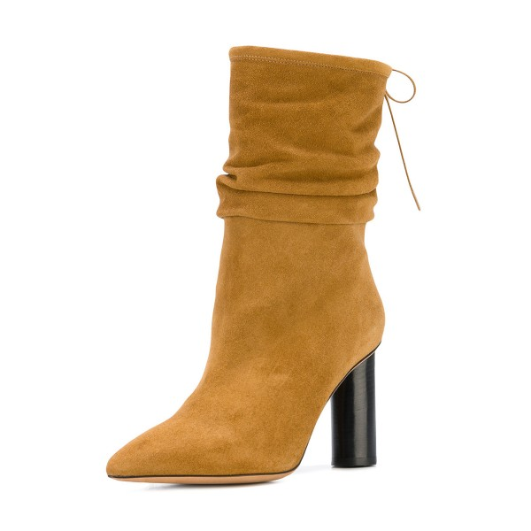 Mustard Slouch Boots Cylindrical Heel Pointy Toe Suede Mid Calf Boots image 1