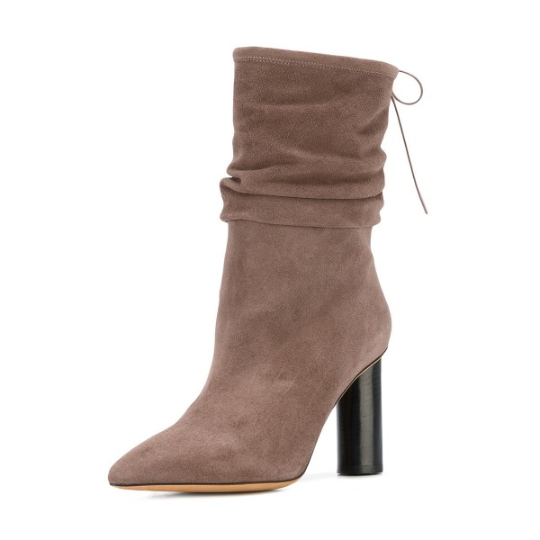 Brown Slouch Boots Pointy Toe Suede Block Heel Mid-calf Boots image 1