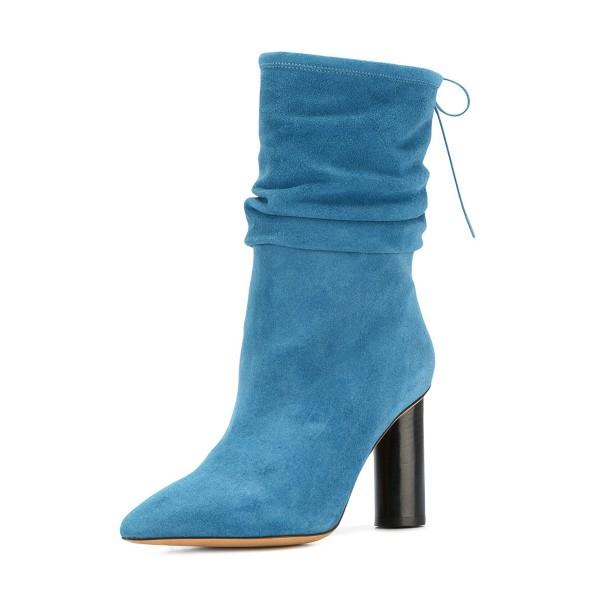 Blue Slouch Boots Suede Block Heel Mid-calf Boots image 1