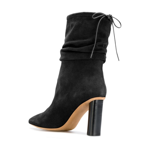 Black Slouch Boots Pointy Toe Suede Chunky Heel Mid-calf Boots image 2