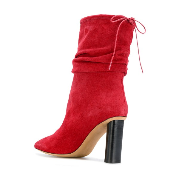 Red Slouch Boots Suede Pointy Toe Block Heel Mid-calf Boots image 2