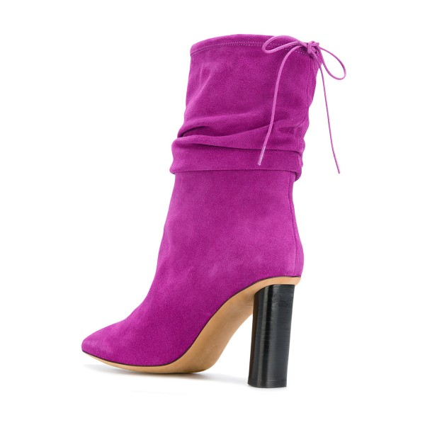 Fuchsia Slouch Boots Suede Pointy Toe Block Heel Mid-calf Boots image 2
