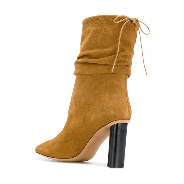 Mustard Slouch Boots Cylindrical Heel Pointy Toe Suede Mid Calf Boots image 2
