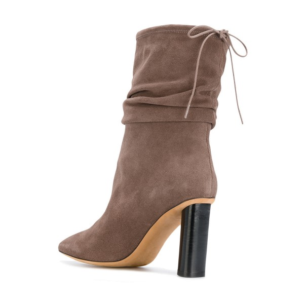 Brown Slouch Boots Pointy Toe Suede Block Heel Mid-calf Boots image 2