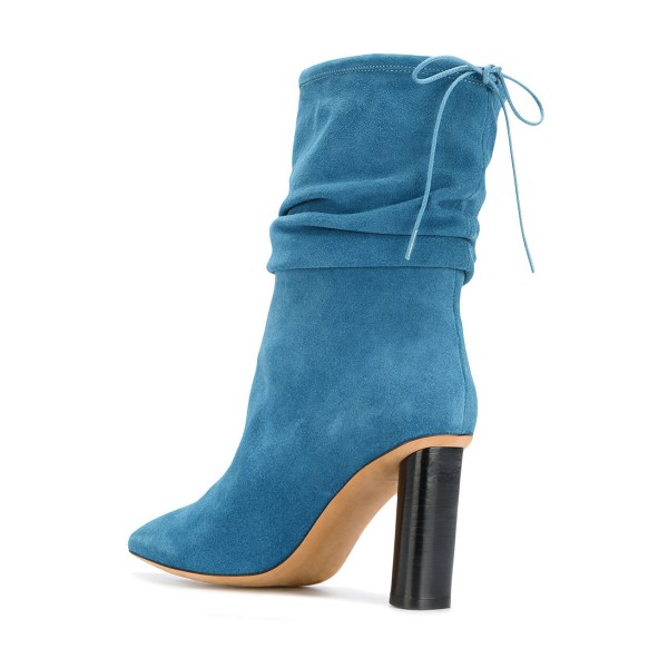 Blue Slouch Boots Suede Block Heel Mid-calf Boots image 2