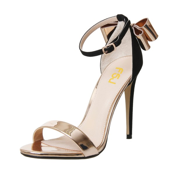 FSJ Champagne Metallic Heels Ankle Strap Bow Stiletto Heel Sandals image 1
