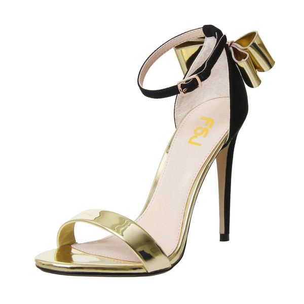 Gold Metallic Heels Ankle Strap Open Toe Bow Stiletto Heel Sandals image 1