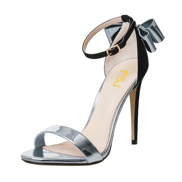 Silver Metallic Heels Open Toe Ankle Strap Bow Stiletto Heel Sandals image 1