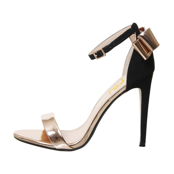 FSJ Champagne Metallic Heels Ankle Strap Bow Stiletto Heel Sandals image 2