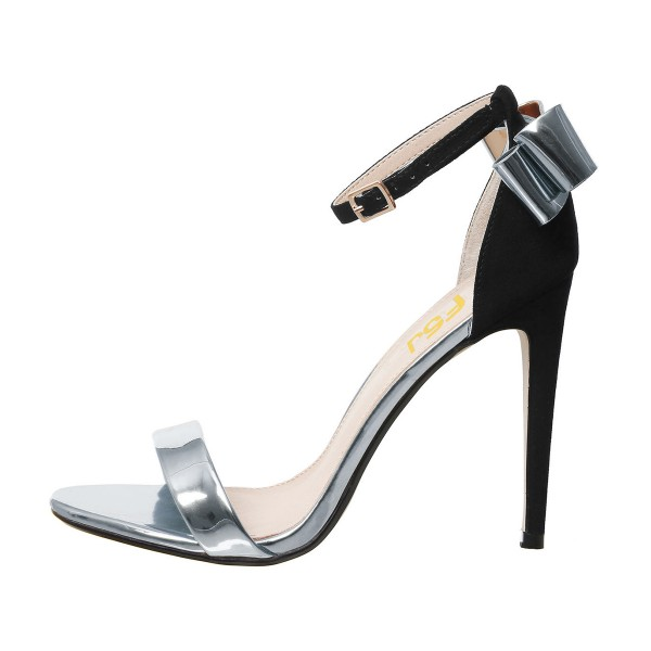 Silver Metallic Heels Open Toe Ankle Strap Bow Stiletto Heel Sandals image 2