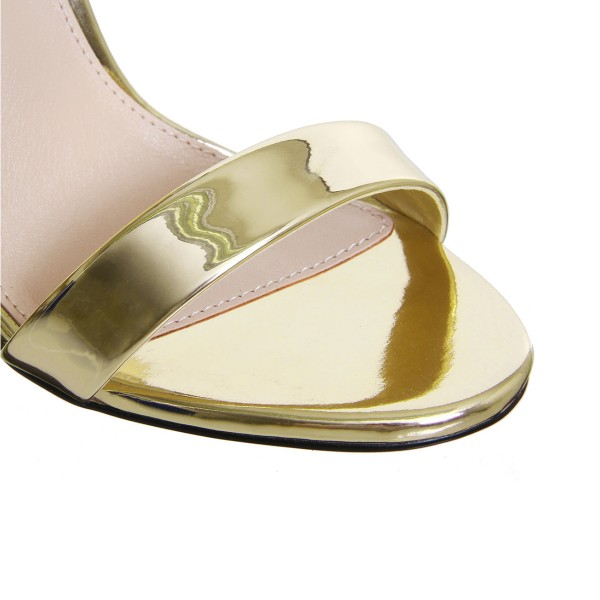 Gold Metallic Heels Ankle Strap Open Toe Bow Stiletto Heel Sandals image 4