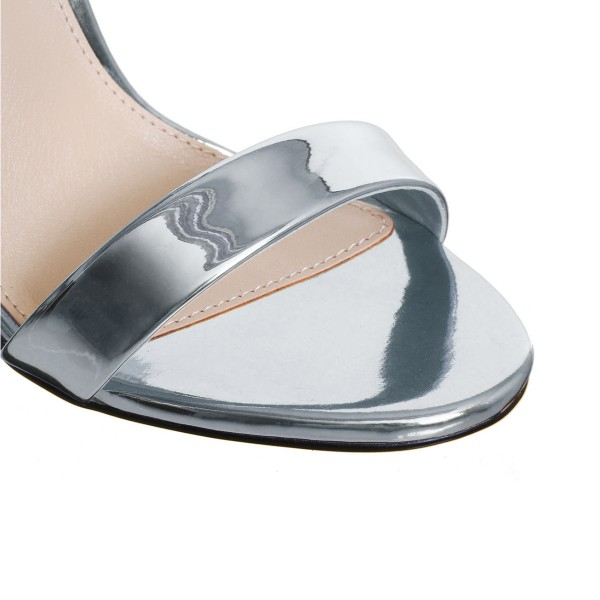 Silver Metallic Heels Open Toe Ankle Strap Bow Stiletto Heel Sandals image 4