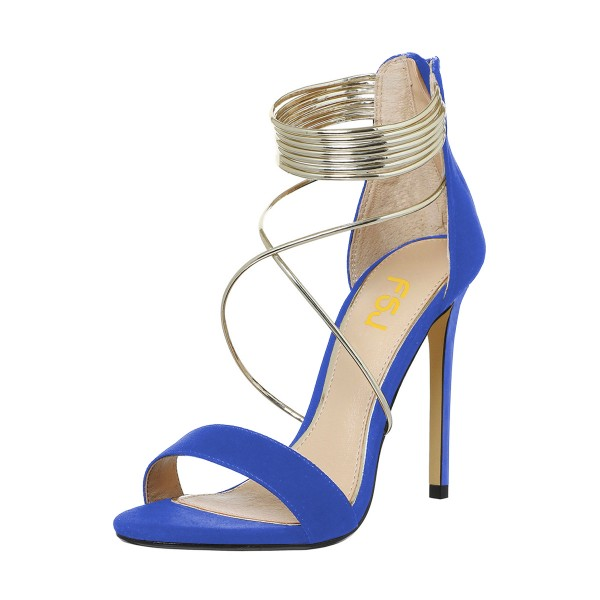 Women's Royal Blue Stiletto Heel Cross Over Ankle Strap Sandals image 1