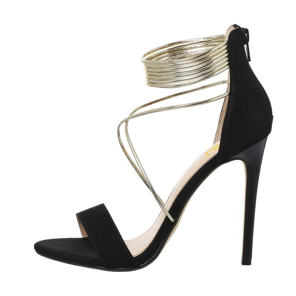 Women's Black Stiletto Heel Cross Over Ankle Strap Sandals image 2
