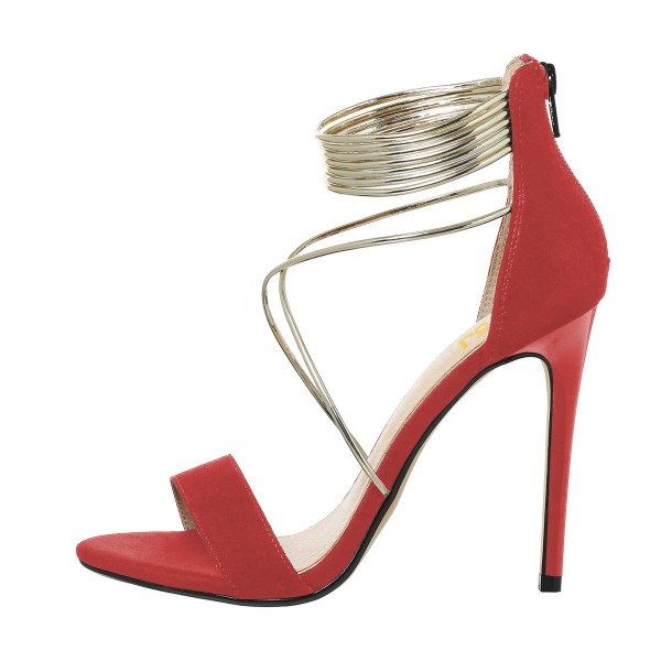 Women's Red Ankle Strap Sandals Cross Over Open Toe Stiletto Heels image 2