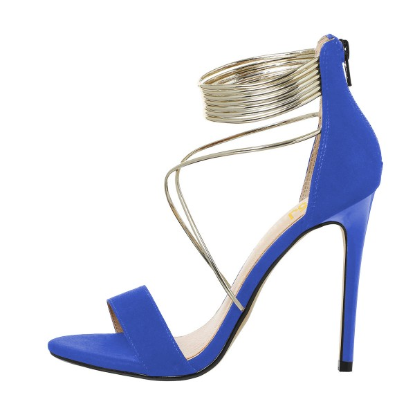 Women's Royal Blue Stiletto Heel Cross Over Ankle Strap Sandals image 2