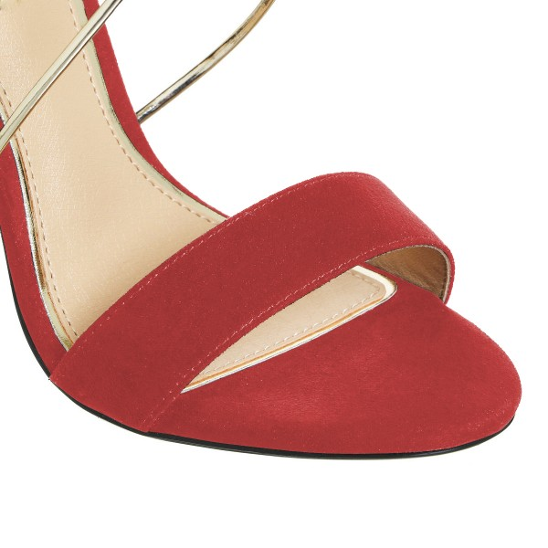 Women's Red Ankle Strap Sandals Cross Over Open Toe Stiletto Heels image 4