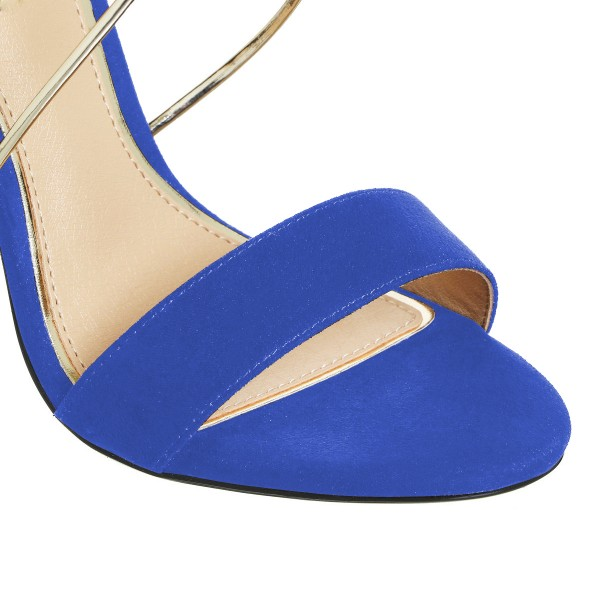 Women's Royal Blue Stiletto Heel Cross Over Ankle Strap Sandals image 4