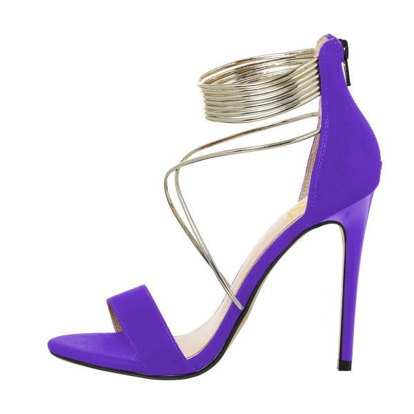 Women's Purple Stiletto Heels Cross Over Ankle Strap Sandals image 2