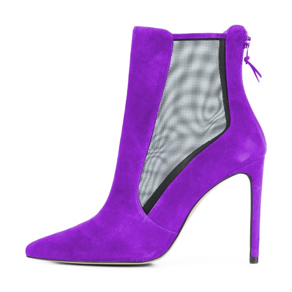 Women's Purple Back Zipper Pointed Toe Stiletto Boots Ankle Boots image 2