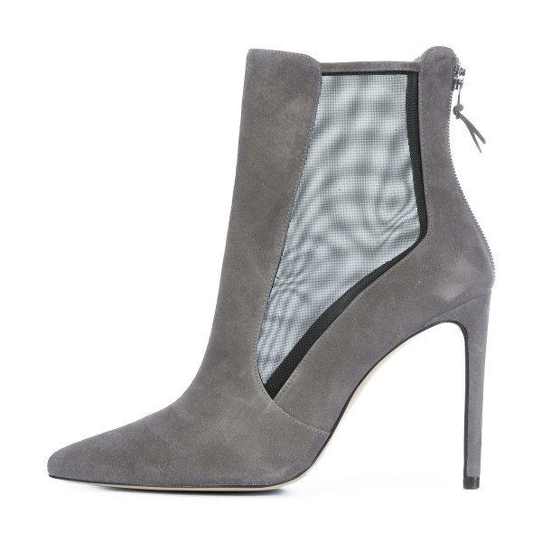 Women's Grey Back Zipper Pointed Toe Stiletto Boots Ankle Boots image 3