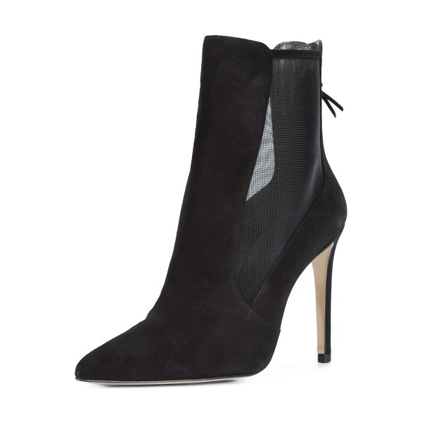 Black Suede and Net Women's Dress Boots Pointy Toe Stiletto Heel Boots image 1