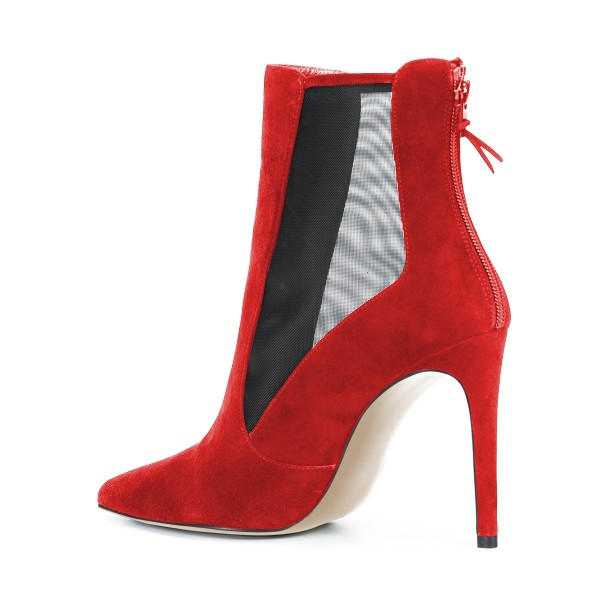 Women's Red Back Zipper Pointed Toe Stiletto Boots Ankle Boots image 2