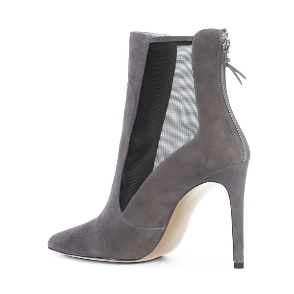 Women's Grey Back Zipper Pointed Toe Stiletto Boots Ankle Boots image 2