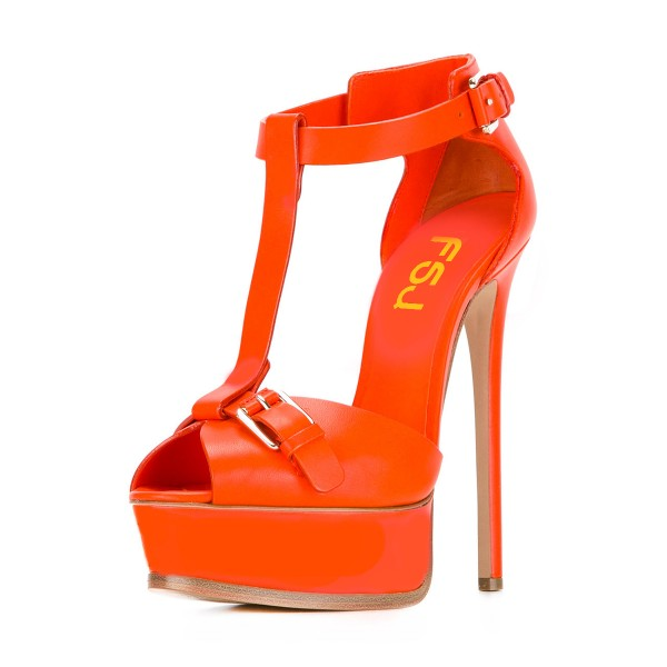 Orange T Strap Sandals Peep Toe Platform Stiletto Heels image 1