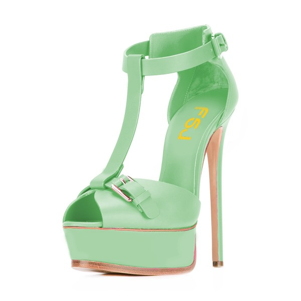 Lime Green T Strap Sandals Peep Toe Platform Stiletto Heels image 1