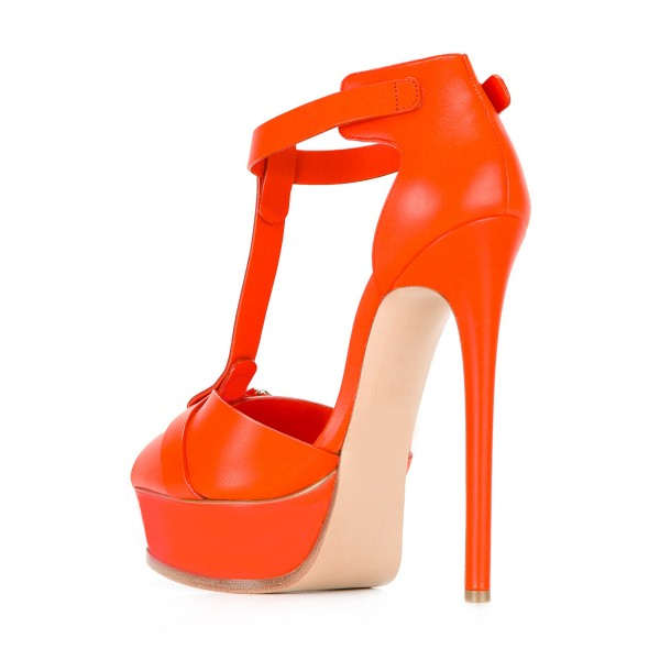 Orange T Strap Sandals Peep Toe Platform Stiletto Heels image 2