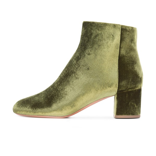 Olive Velvet Short Boots Round Toe Chunky Heel Fashion Ankle Boots image 2
