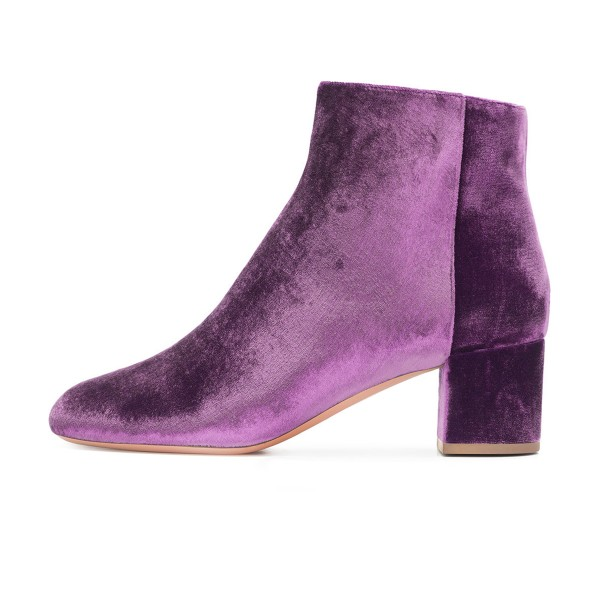 Purple Velvet Short Boots Round Toe Chunky Heel Fashion Ankle Boots image 2