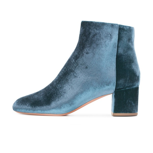 Blue Velvet Short Boots Round Toe Chunky Heel Fashion Ankle Boots image 2