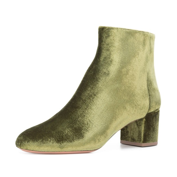 Olive Velvet Short Boots Round Toe Chunky Heel Fashion Ankle Boots image 1