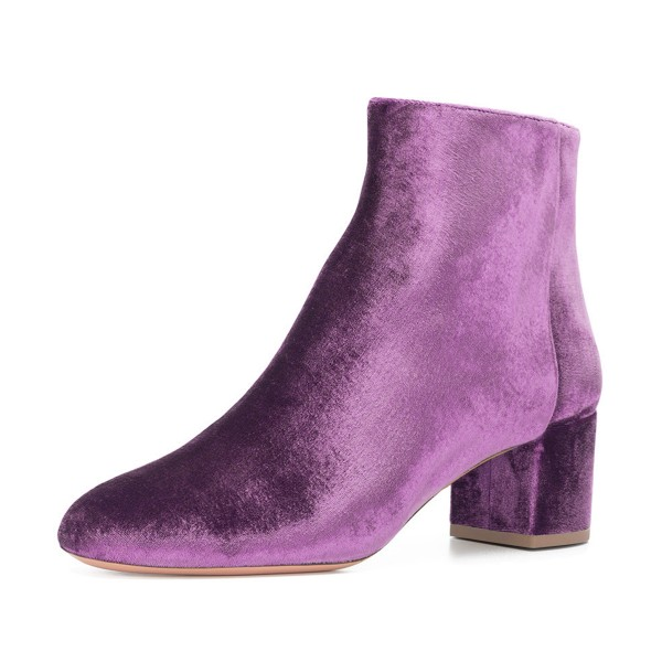 Purple Velvet Short Boots Round Toe Chunky Heel Fashion Ankle Boots image 1