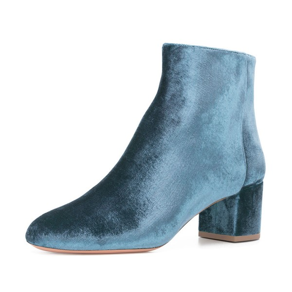 Blue Velvet Short Boots Round Toe Chunky Heel Fashion Ankle Boots image 1