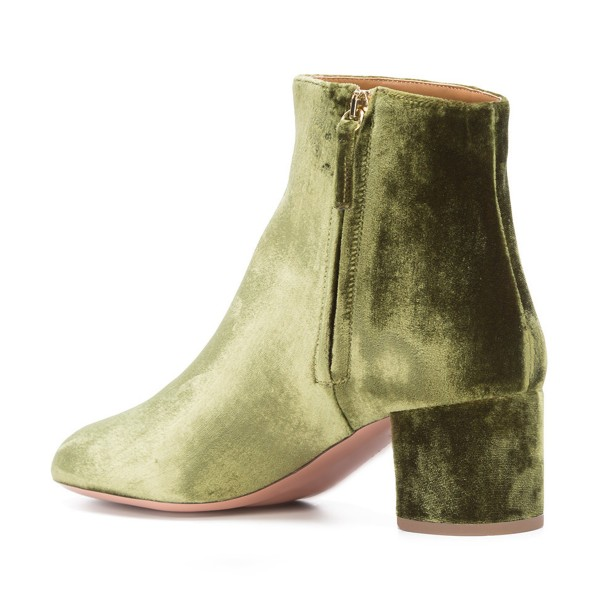 Olive Velvet Short Boots Round Toe Chunky Heel Fashion Ankle Boots image 3