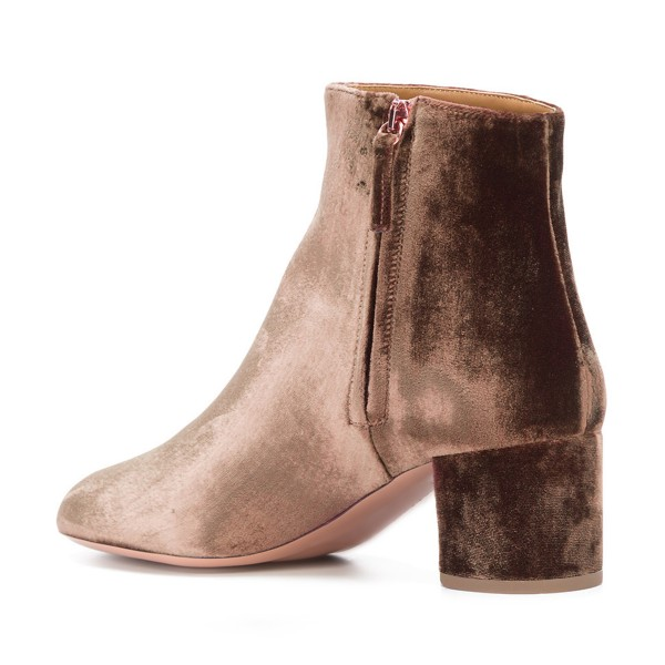Brown Velvet Short Boots Round Toe Chunky Heel Fashion Ankle Boots image 3