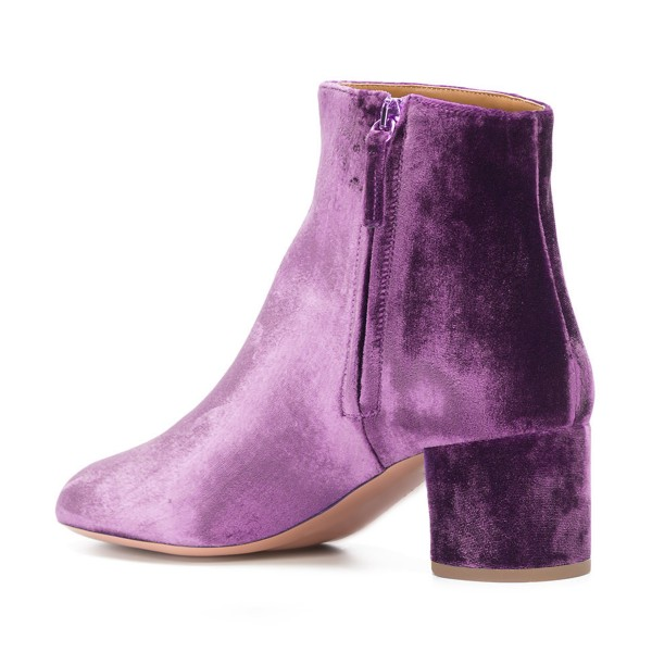 Purple Velvet Short Boots Round Toe Chunky Heel Fashion Ankle Boots image 3