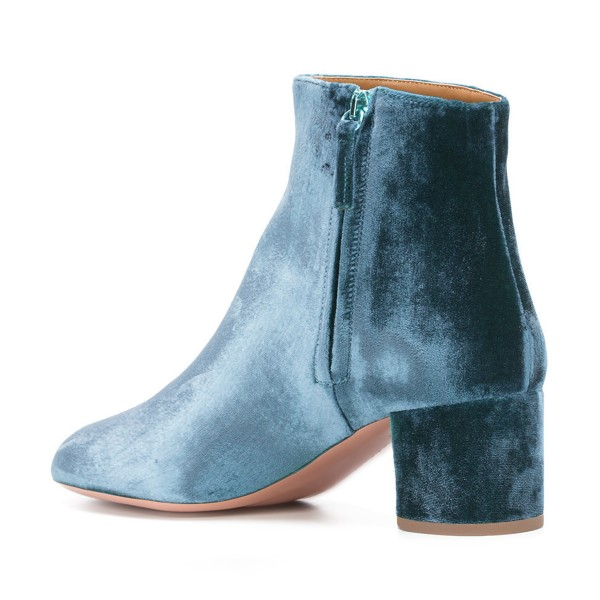 Blue Velvet Short Boots Round Toe Chunky Heel Fashion Ankle Boots image 3