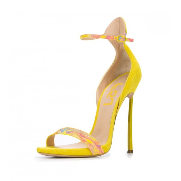 Women's Yellow Stiletto Heels Dress Shoes Open Toe Ankle Strap Sandals  image 1