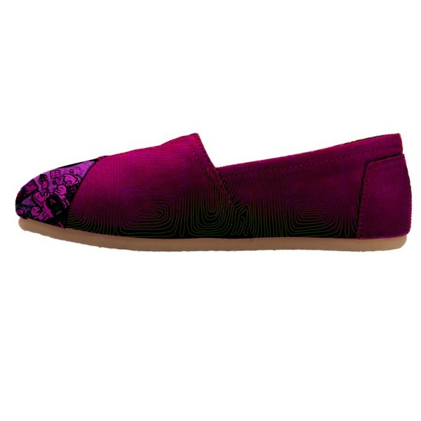 Women's Fuchsia Cartoon Printed Slip-on Comfortable Flats  image 1