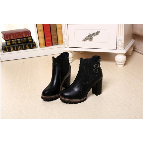 Women's Black Pointed Toe Chunky Heels Ankle Vintage Boots image 2