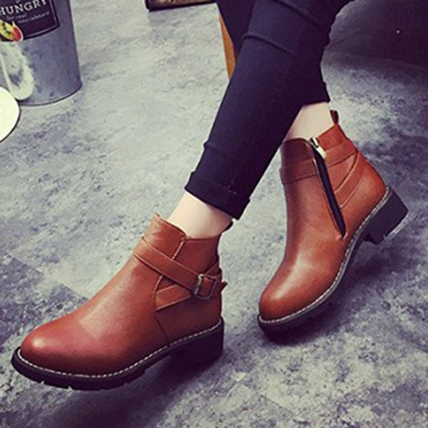 Women's Brown Round Toe Buckle Short Flats Vintage Boots image 2