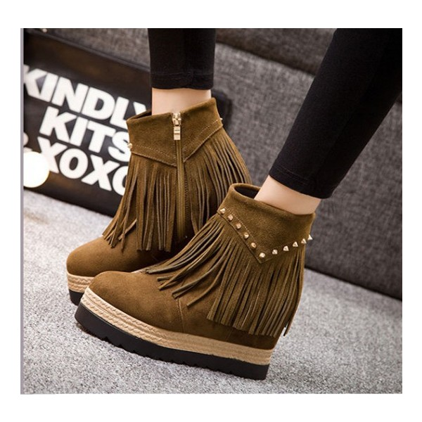Brown Vintage Boots Suede Fringe Platform Shoes with Rivets image 2